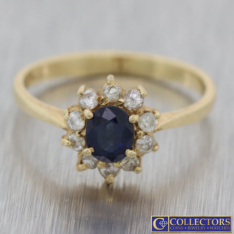 Vintage Estate Solid 14k Yellow Gold .65ctw Sapphire Diamond Cocktail Ring N8