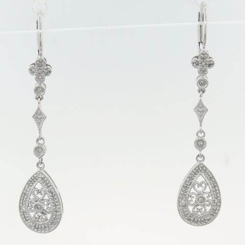 Vintage Estate 14k White Gold 0.15ctw Diamond Filigree Dangle Earrings