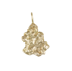 Solid 14K Yellow Gold Free-Form Nugget Charm Pendant 4.3gr