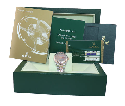 PAPERS Ladies Rolex DateJust 31 178271 Rose MOP Diamond Jubilee 31mm Watch Box
