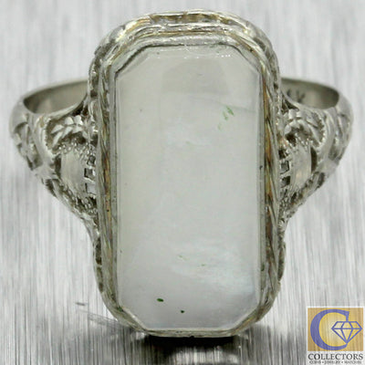 Antique Art Deco 14k Solid White Gold Filigree Design Moonstone Cocktail Ring