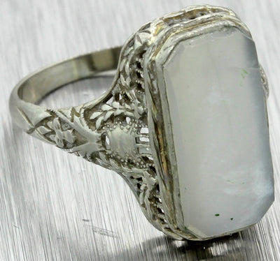 1930s Antique Art Deco 14k White Gold Filigree Design Moonstone Cocktail Ring
