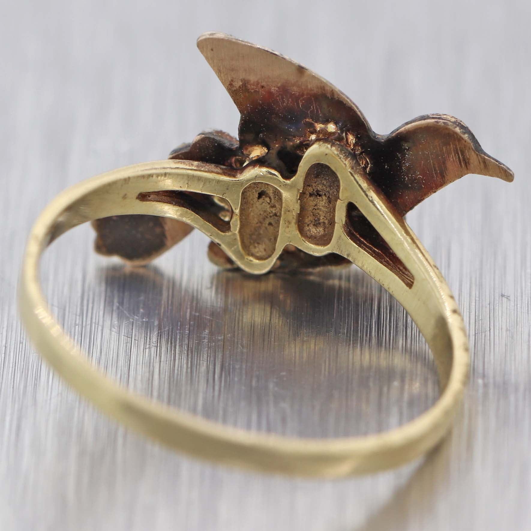 1880 Antique Victorian Estate 14k Yellow Gold Dove Love Bird Cocktail Ring D8