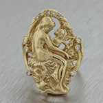 Vintage Signed 14k Solid Yellow Gold .20ctw Diamond Mother Child Cocktail Ring