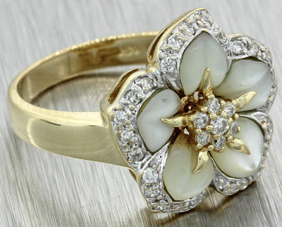Effy 14k Solid Yellow Gold Mother of Pearl 0.35ct Diamond Flower Ring