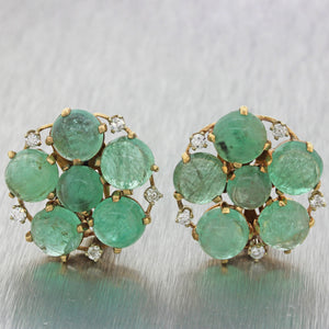 $3500 Vintage Estate 14k Solid Yellow Gold 10ctw Emerald .50ctw Diamond Earrings