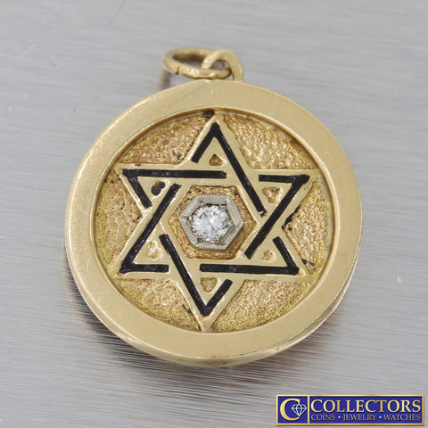 Vintage 14k Yellow Gold Star Of David Moses 10 Commandments Diamond Pendant N8