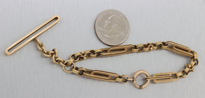 1880s Antique Victorian 14k Yellow Gold 5mm Watch FOB Chain Bracelet 24.3g N8