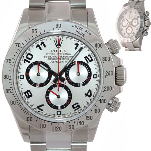 MINT Rolex Daytona Cosmograph 116520 Steel Chronograph Racing Arabic Dial Watch