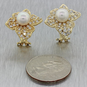 1980s Vintage Estate 14k Solid Yellow Gold 8mm Pearl 1ctw Diamond Earrings
