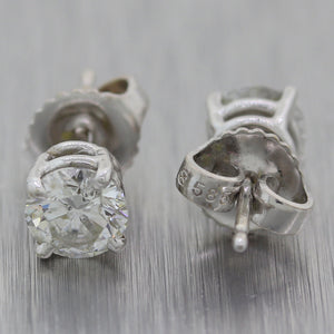 Modern 14k White Gold 1ctw Diamond Stud Earrings