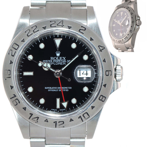 MINT Rolex Explorer II 16570 Stainless Steel Black Dial GMT SEL 40mm Watch