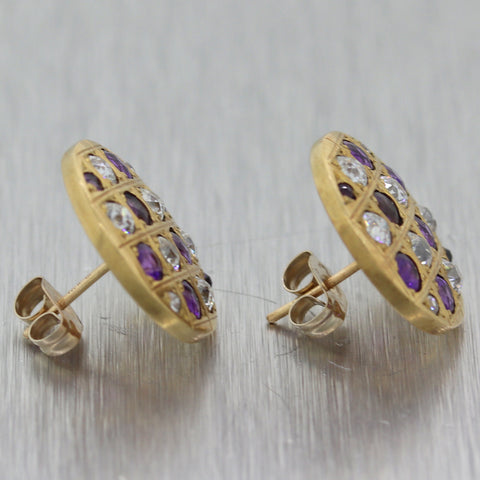 1930's Antique Art Deco 14k Yellow Gold 2ctw Amethyst & Diamond Button Earrings