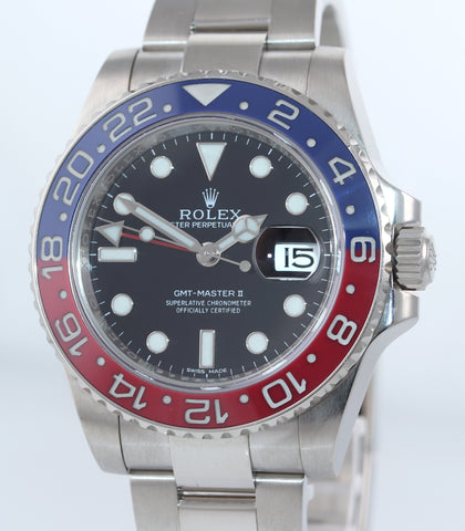 MINT 2015 PAPERS Rolex GMT-Master II MK1 Pepsi 18K White Gold 116719BLRO Watch