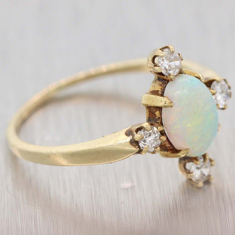 1880s Antique Victorian 14k Yellow Gold 1.28ctw Fire Opal Diamond Cocktail Ring D8