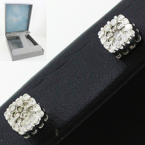 Designer Modern 10k Solid White Gold 0.35ctw~ Diamond Square Stud Earrings