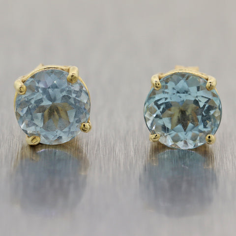 Modern 14k Yellow Gold 3ctw Aquamarine Stud Earrings