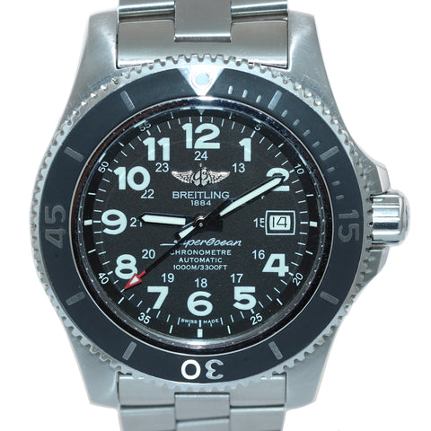 Breitling SuperOcean 44 Stainless Steel Black 44mm Date Dive Watch A17392