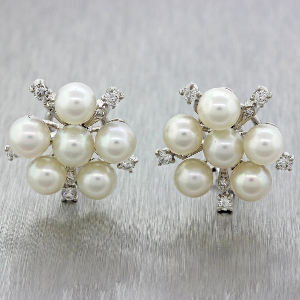 3e85985ef $3500 Vintage 14k Solid White Gold 6.5mm Pearl Cluster .80ctw Diamond –  Collectors1946.com