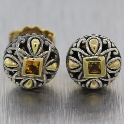 John Hardy Sterling Silver & 8k Yellow Gold 0.25ct Citrine Earrings