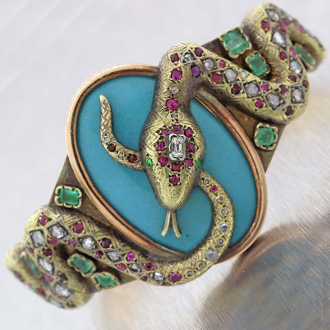 1860s Antique Victorian 18k Gold 2.50ctw Emerald Ruby Diamond Cuff Bracelet D8