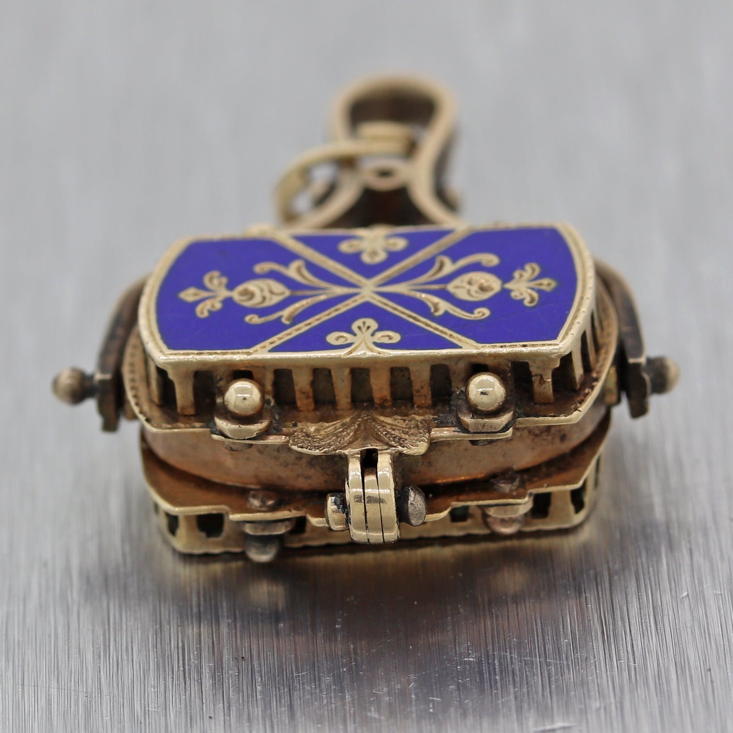1860's Antique Victorian 14k Yellow Gold Blue Enamel Fob Locket Charm