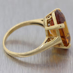 Vintage Estate 14k Yellow Gold Citrine Cocktail Ring