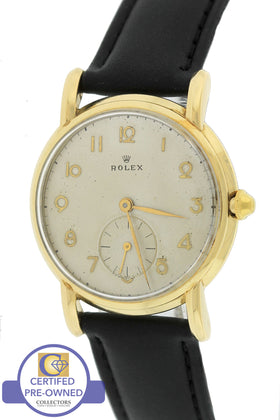 1947 Vintage Rolex 14K 585 Yellow Gold Silver Arabic 34mm Black Leather Watch