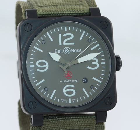 PAPERS Bell & Ross BR03-92 Military Type Black PVD OD Green 42mm Date Watch