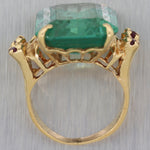 1950's Vintage Estate 14k Yellow Gold Synthetic Spinel Cocktail Ring