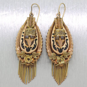 1870's Antique Victorian 14k Yellow Gold Enamel Tassel Earrings