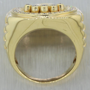 Rolex Men's 14k Yellow Gold 1ctw Diamond Crown Design Ring
