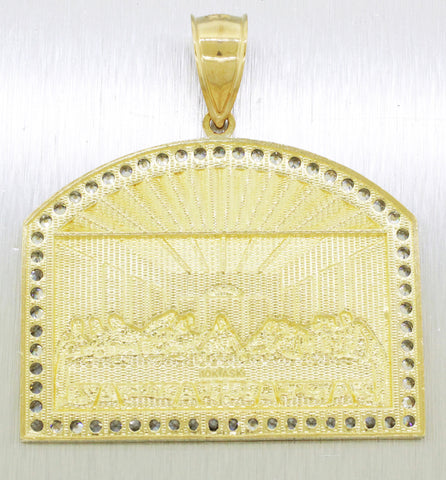 Vintage 10k Yellow & White Gold 1.20ctw~ Cubic Zircon Last Supper Pendant