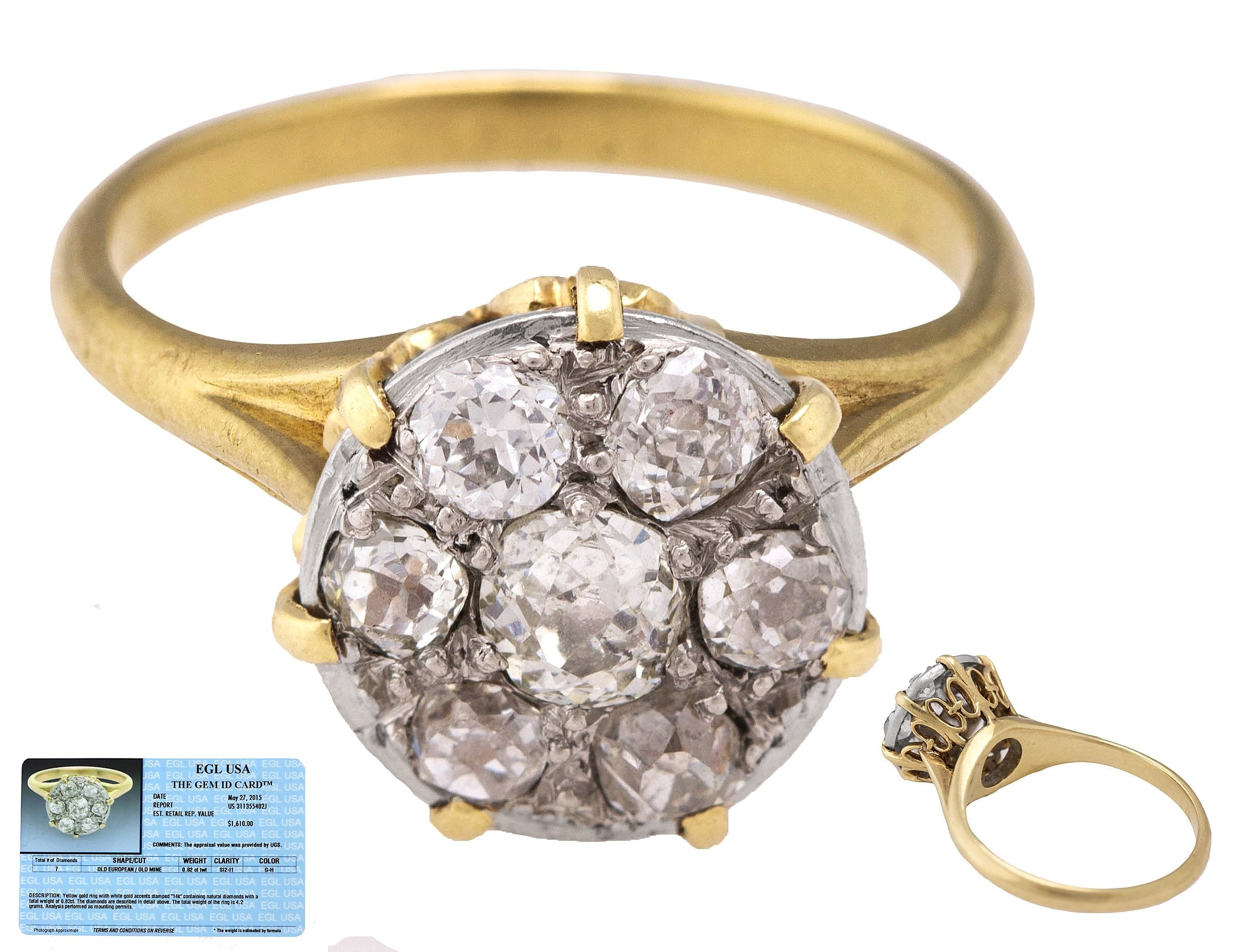 Vintage Art Deco 14K Yellow Gold 0.82ctw G-H SI2-I1 Diamond Cluster Ring EGL USA