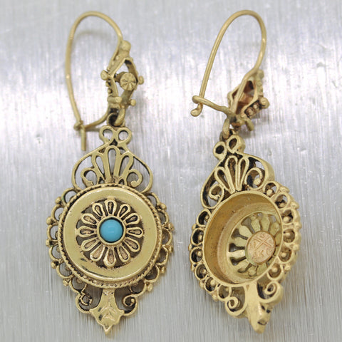 Antique Vintage Estate 14k Yellow Gold 0.20ctw Turquoise Drop Earrings