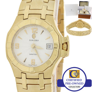MINT Ladies Concord Saratoga Solid 18k Yellow Gold 25mm Quartz Watch B&P Y8