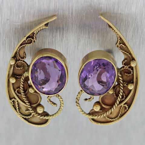 1880's Antique Victorian 14k Yellow Gold Amethyst Etruscan Earrings