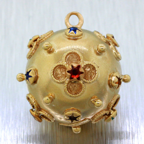 Vintage Estate 18k Yellow Gold Ruby Sapphire and Emerald Ornamental Orb Pendant