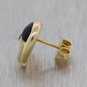 Kabana 14k Yellow Gold Onyx & Mother of Pearl Inlay Heart Earrings