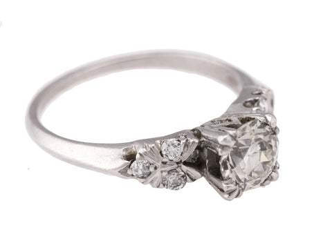 Ladies Modern Platinum 0.84CT Transition Round Brilliant Cut Engagement Ring EGL