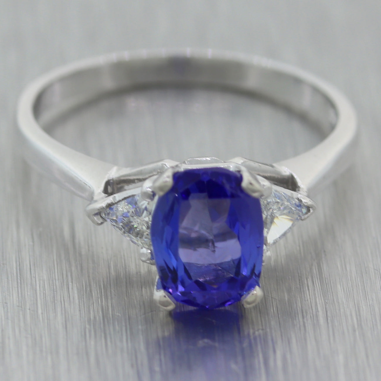Vintage Estate Platinum 1.90ctw Tanzanite & Diamond Ring