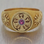 Mens Antique Victorian Estate Solid 14k Yellow Gold .10ctw Ruby Band Ring