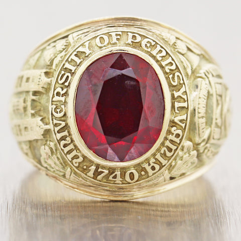 1740 University of Pennsylvania 14k Yellow Gold Red Stone Class Ring