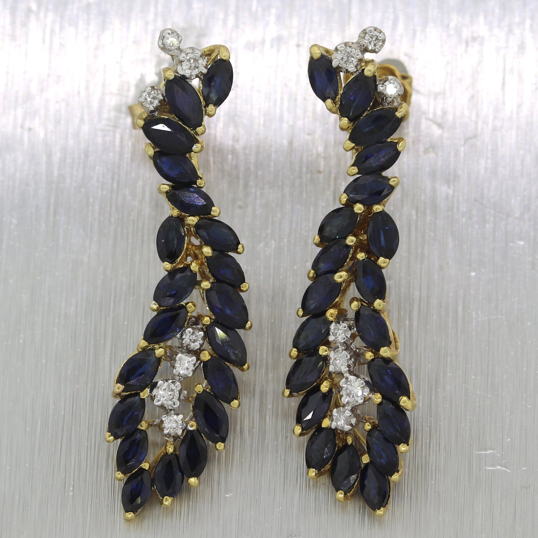 Vintage Estate 18k Yellow Gold 3.40ctw Sapphire & Diamond Drop Earrings