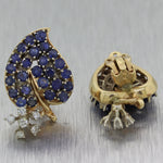 1950's Vintage Estate 14k Yellow Gold 4ctw Sapphire & Diamond Leaf Clip On Earrings