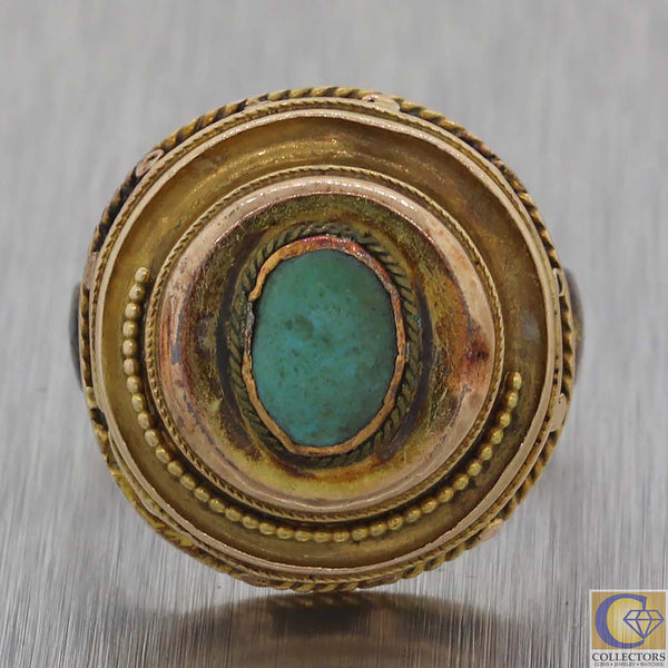 1880s Antique Victorian Estate 14k Yellow Gold Turquoise Cocktail Ring Y8
