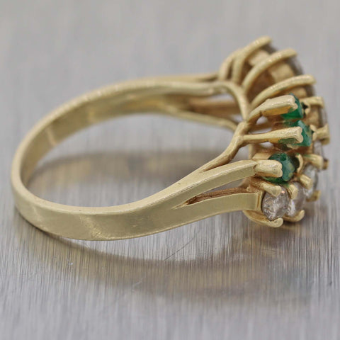 EFFY Solid 14k Yellow Gold .30ct Marquise Emerald .65ct Diamond Band Ring
