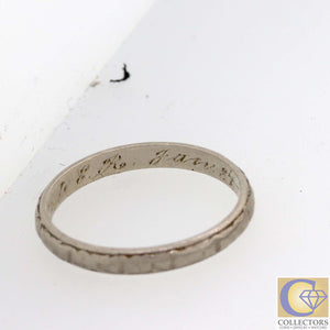 1920s Antique Art Deco Platinum 2mm Etched Filigree Wedding Band Ring Y8