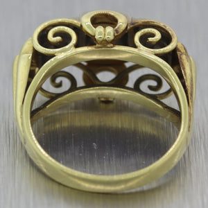 Vintage Estate 14k Yellow Gold 0.25ctw Diamond Scroll Ring