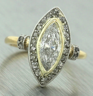 Antique Art Deco 1920s Estate 0.93ctw Marquise Damond 18K Gold Ring EGL USA